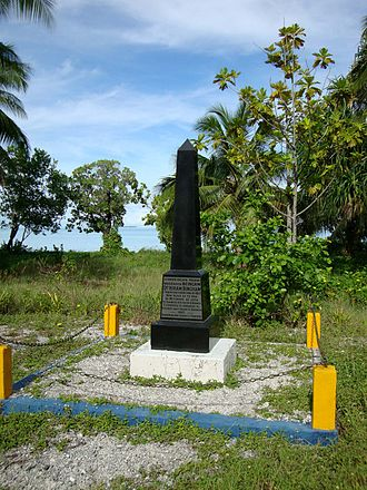 Abaiang - Monument in Koinawa to remember the arrival of Christianity on 18 November 1857