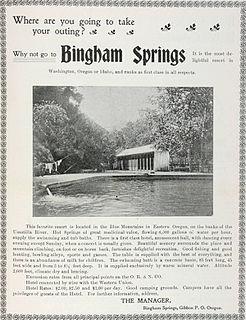 Bingham Springs, Oregon human settlement in Oregon, United States of America