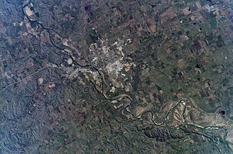 Bismarck, North Dakota - Early-May 2007 astronaut photography of Bismarck, North Dakota, taken from the International Space Station (ISS)