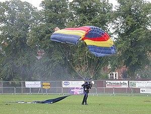 The Racecourse, Northampton - A Royal Air Force parachutist at the 16th Annual Balloon Festival