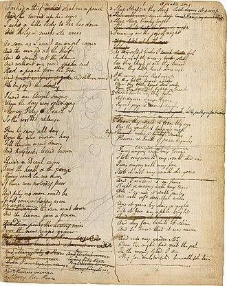 Notebook of William Blake - Image: Blake manuscript Notebook page 114 rev