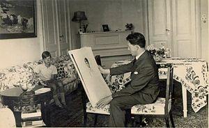 Božidar Jakac - Jakac paints Peter II of Yugoslavia in 1934 at Bled