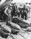 Bombs on USS Cowpens (CVL-25) before Wake Island raid in October 1943.jpg