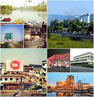 Bongaigaon - By clockwise : Bongaigaon Railway Crossing view of Mayapuri area, Night view of New Bongaigaon Junction railway station, Chilarai Indoor Games Stadium located at Borpara, Lighting view of NTPC Bongaigaon Thermal Power Project at Salakati, Aerial view of Station Road near ASTC Bus Stand, Chapaguri Road View and Koya Kujia Eco Tourism Park.