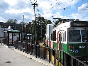 Boston College (MBTA station) - Inbound train at Boston College station in 2011