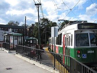 Boston College (MBTA station) - Inbound train at Boston College station in 2011