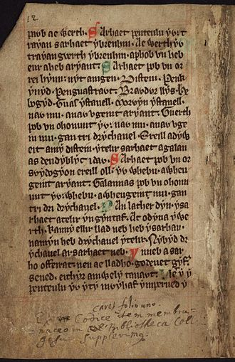 Cyfraith Hywel - The 'Boston Manuscript'. An annotated 14th century Welsh version of the laws (f.6.v)