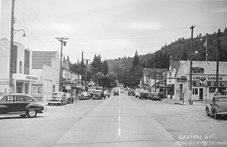 Boulder Creek, California - What will be Highway 9 through the center of town during the 1930s