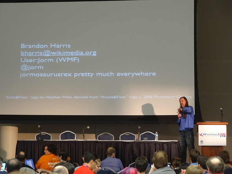 File:Brandon Harris; answering questions, 'The Athena Project - Wikipedia in 2015'; Wikimania 2012.JPG