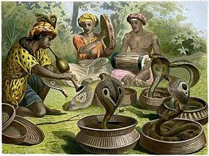 """Snake charming - """"Snakecharmers,"""" a chromolithograph by Alfred Brehm"""