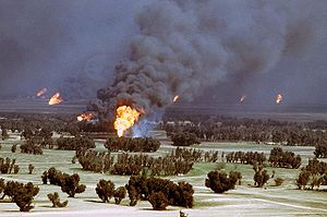 Environmental impact of war - Kuwaiti oil fires set by retreating Iraqi forces during the Gulf War caused a dramatic decrease in air quality.