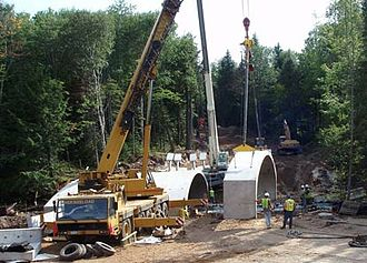 H-58 (Michigan county highway) - Construction to build the bridge over the Hurricane River in 2010
