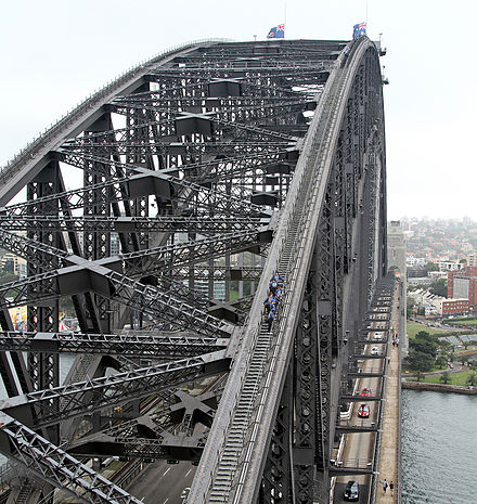 BridgeClimbers admire the view mid-climb, while a second group reach the top of the arch. Note also the light fixtures and extensive use of rivets BridgeClimb on Sydney Harbour Bridge, jjron, 02.12.2010.jpg