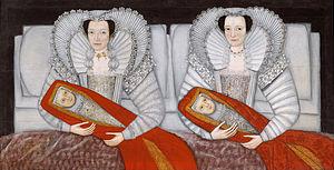 The Cholmondeley Ladies - The Cholmondeley sisters and their swaddled babies. c.1600-1610