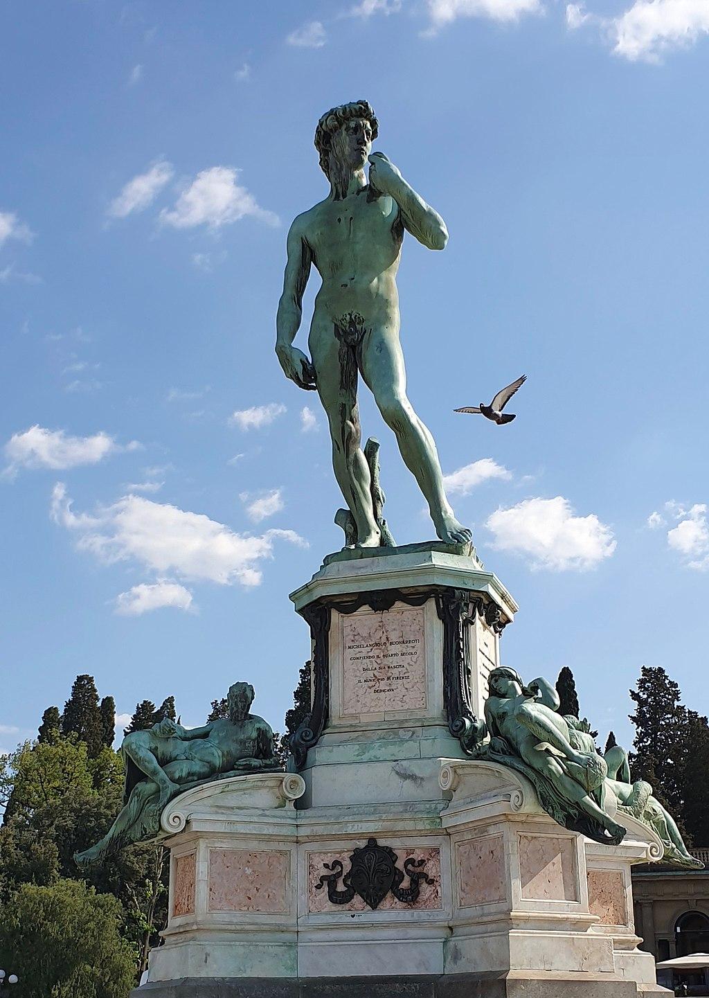 Bronze replica of David after Michelangelo and Bronze replica of Dusk and Dawn after Michelangelo's sculptures on the tomb of Lorenzo de' Medici, Piazzale Michelangelo