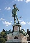 Bronze replica of David after Michelangelo and Bronze replica of Dusk and Dawn after Michelangelo sculpture on the tomb of Lorenzo de' Medici-Piazzale Michelangelo.jpg