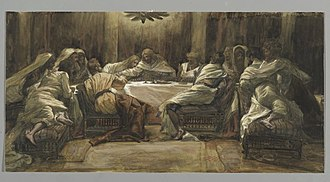 Last Supper in Christian art - Last Supper by James Tissot, between 1886 and 1894. Tissot shows the Apostles as they most probably were eating the meal, on couches, as it was the custom of the time.