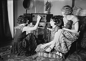 Brox Sisters - The Brox Sisters tune their radio (Left to right:) Patricia, Bobbe, Lorayne (c. mid-1920s)