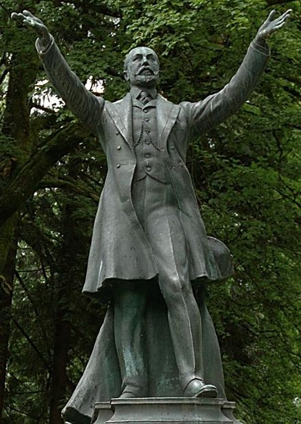 A statue of Lord Derby stands in Stanley Park, Vancouver. Buberel Lord Stanley statue.jpg