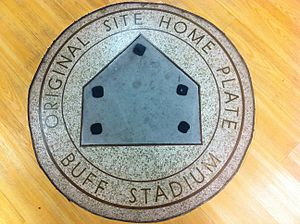 Buffalo Stadium - Buffalo Stadium's home plate plaque, until 2013, existed in that stadium's original home plate location at the Houston Sports Museum as part of the Finger Furniture Store