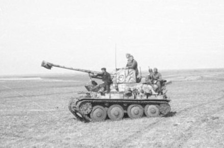 Marder III tank destroyer mounting a captured 76.2mm Russian anti tank gun, deploying for an attack on the Kerch peninsula in May 1942 Bundesarchiv B 145 Bild-F016217-0015A, Krim, Panzerjager Marder 2.2.jpg
