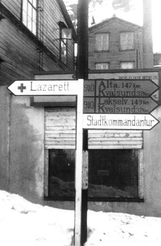 Hammerfest - German sign in Hammerfest in 1941.