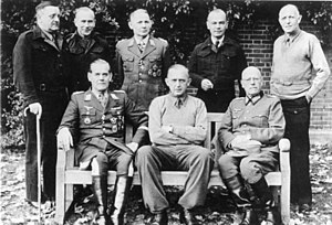 Trent Park - Another picture from German officers at Trent Park back row from left to right: General der Infantrie Dietrich von Choltitz, Oberst Gerhard Wilck, General der Fallschirmtruppe Hermann-Bernhard Ramcke, Generalmajor Kurt Eberding, Oberst Eberhard Wildermuth front row from left to right: Generalleutnant Rüdiger von Heyking, Generalleutnant Karl-Wilhelm von Schlieben, Generalleutnant Wilhelm Daser