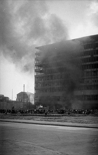Columbushaus - Columbushaus on fire, 17 June 1953