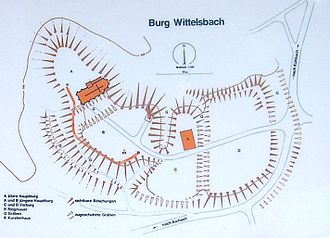 Wittelsbach Castle - A schematic plan of the former castle