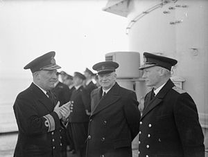Robert Burnett - Burnett, left, with First Lord of the Admiralty A. V. Alexander and Admiral Sir John Tovey, C.-in-C. Home Fleet, on board HMS Belfast in January 1943