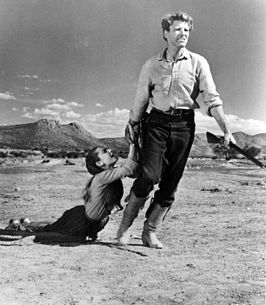 Burt Lancaster en Audrey Hepburn in The Unforgiven