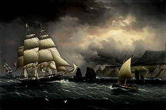 "Maritime history - The Clipper Ship ""Flying Cloud"" off the Needles, Isle of Wight, on the southern English coast. Painting by James E. Buttersworth."
