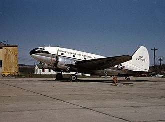 Reading Regional Airport - Curtiss C-46D-10-CU 44-77715 at Spaatz Field, 140th Aeromedical Transport Squadron, Pennsylvania ANG, 1957.
