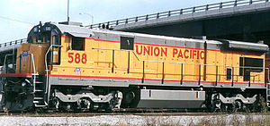 Union Pacific 588 war ein General-Electric-Modell C36-7, modifiziert und intern als C36M bezeichnet. Foto: Houston Texas, 2000.