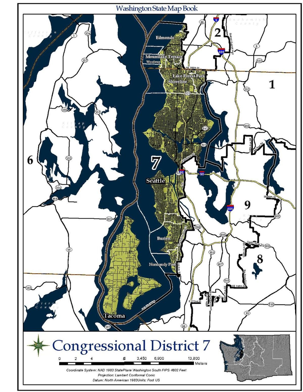 8th Congressional District Washington Map.Washington S 7th Congressional District Wikipedia