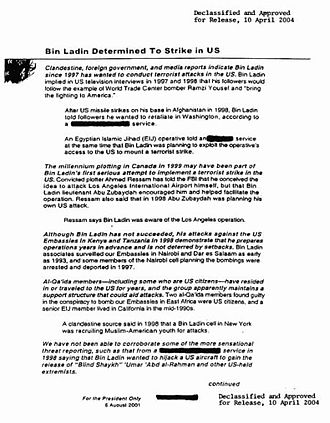 President's Daily Brief - Excerpt from the declassified copy of the President's Daily Brief, dated August 6th, 2001