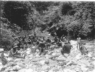 Aceh War - A Dutch military patrol on break during the Aceh War, photo by H.M. Neeb