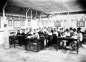Dutch Ethical Policy - Students in Agricultural school for Indonesians in Java. The school was built during this period.