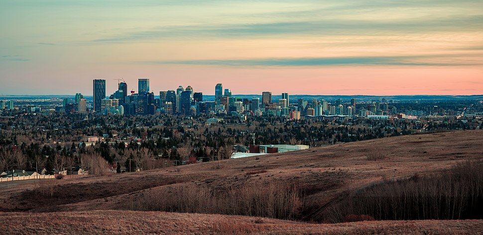  View of Calgary in the Fall of 2018 from Nose Hill Park. The city is located in a transition zone between the Rocky Mountain Foothills and the Prairies. 