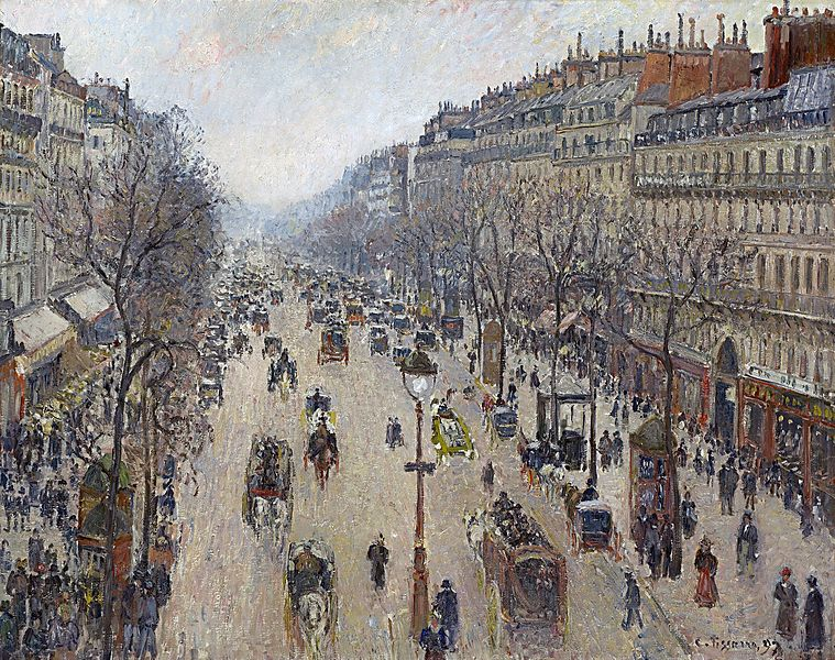 File:Camille Pissarro - Boulevard Montmartre, morning, cloudy weather - Google Art Project.jpg