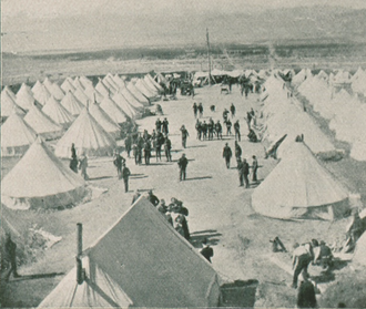 "Leadville miners' strike - Encampment of the Colorado National Guard at ""Camp McIntire,"" during the Leadville miners' strike of 1896-1897"