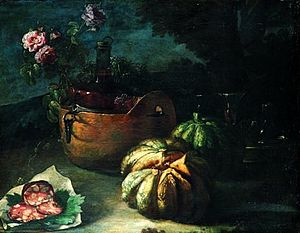 Candido Vitali - Still life with bronze bowl, bottle, glasses, flowers, salami and melon by Candido Vitali, private collection