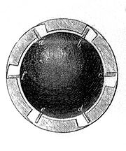Cannonball equiped with winglets for rifled cannons circa 1860