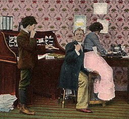 "Humorous ""Get out! Can't you see I'm busy"" postcard (1900s) CantYouSeeImBusyCardCropped.jpg"
