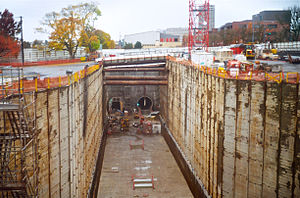 Capitol Hill station - The excavated station box and poured concrete floor, seen in late 2012
