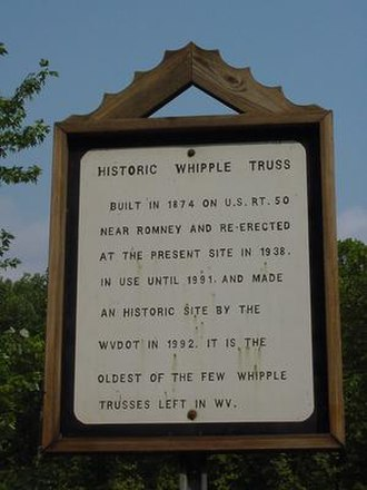Capon Lake, West Virginia - Whipple Truss placard outlining its past.