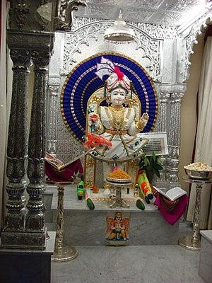 Shri Swaminarayan Mandir, Cardiff - The new image of Ghanshyam installed in 2007