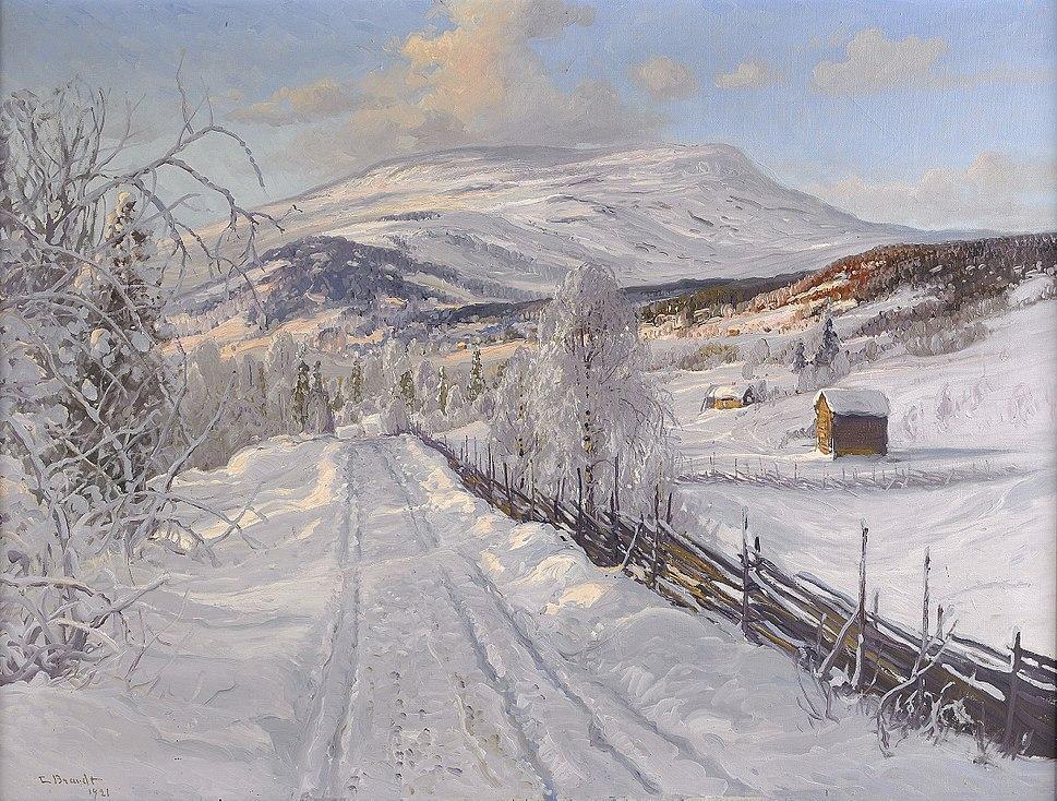 Carl Brandt - Norrländskt vinterlandskap med Åreskutan i fonden