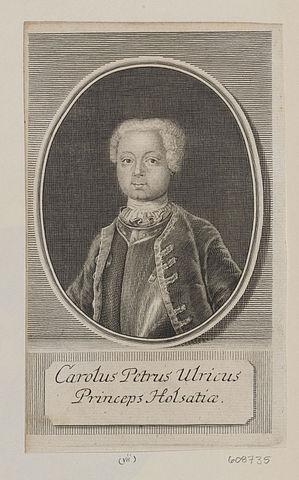Маленький герцог Карл Петер Ульрих (будущий Петр III). Гравюра.