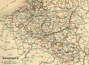 Eupen-Malmedy - An 1843 map of Belgium, with Eupen and Malmedy shown as part of the Kingdom of Prussia